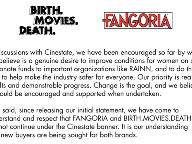 Fangoria, Birth.Movies.Death sever ties following damning exposé of parent company Cinestate