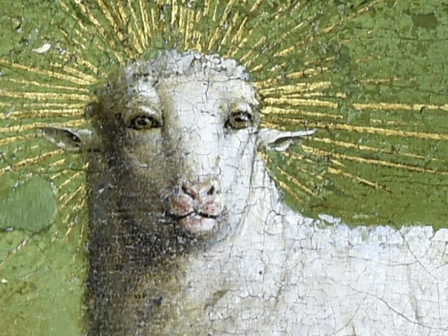 Behold the awesome, unblinking gaze of the restored Mystic Lamb