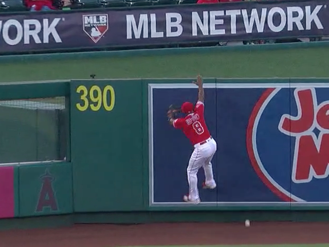 Justin Upton Makes A Spectacular Leaping Attempt Really Nowhere Near The Ball