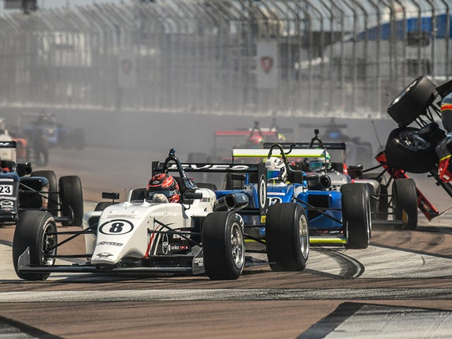 USF2000 Driver Starts St. Petersburg Race With A Barrel Roll