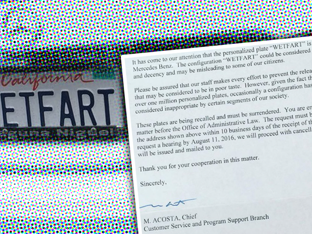 Someone In California Thinks The License Plate WETFART Is Somehow Offensive