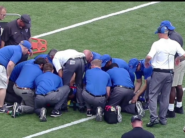 Memphis Linebacker JJ Russell Carted Off Field After Huge Hit On Kickoff
