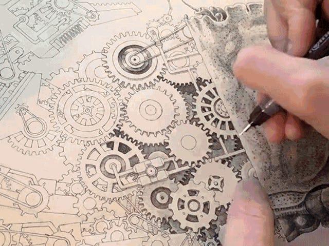 Ang Artist na ito Pagguhit ng isang Hindi kapani-paniwalang Detalyadong Mechanical Crab Ay Tulad ng isang Human Printer