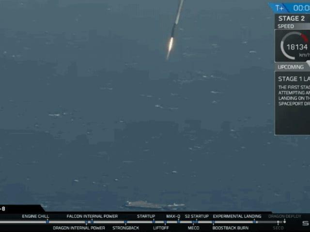 SpaceX logra aterrizar el cohete Falcon 9 en el mar por primera vez en cinco intentos
