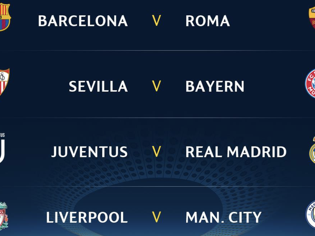 Here's The Champions League Quarterfinal Draw