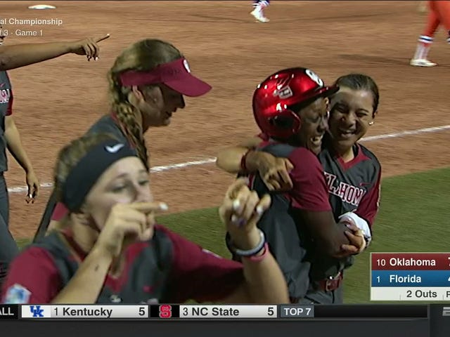 Oklahoma Beats Florida In 17-Inning Game 1 Of Women's College World Series Championship