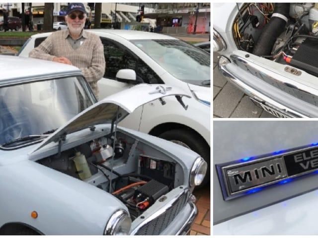 Este hombre construyó su propio coche eléctrico en delir de Mini del 66 ... hace 20 ani