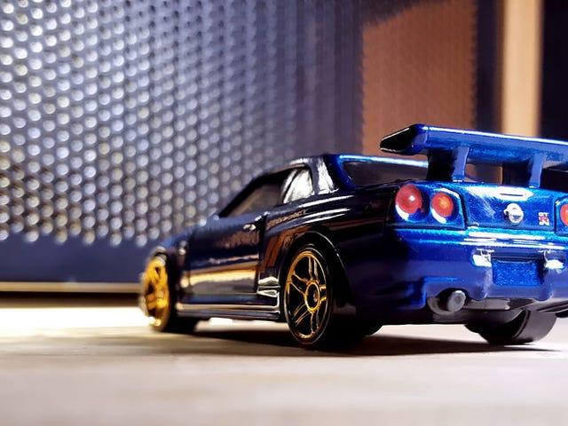 A blue Nissan
