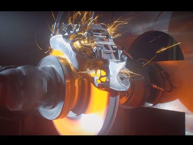 Att testa en 3D-tryckt Bugatti-bromsok är överraskande vacker att titta på