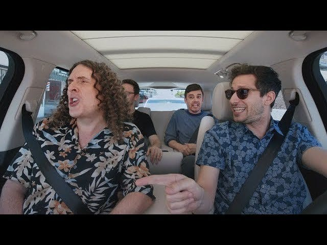 Weird Al and the Lonely Island guys are having a lot of fun in this Carpool Karaoke trailer