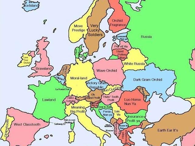 Traducciones literales chinas para nombres de países europeos