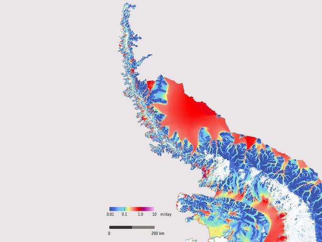 Cette image trippante montre la rapidité avec laquelle la glace antarctique se déplace