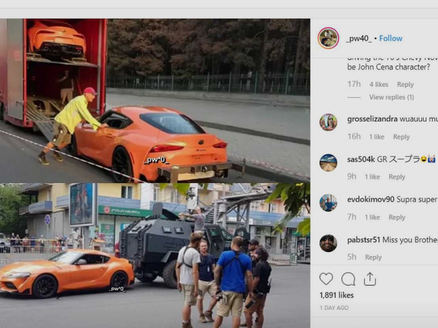 Orange MkV Supra on the sets of F&F 9