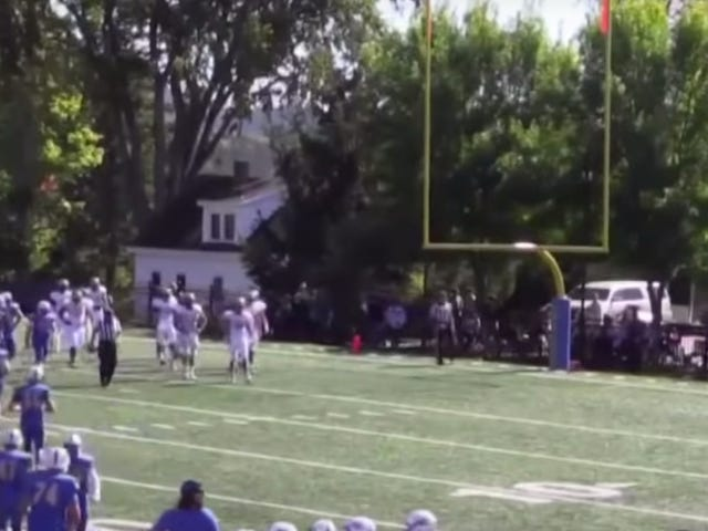 Referee Shot In The Head By Cannon During College Football Game