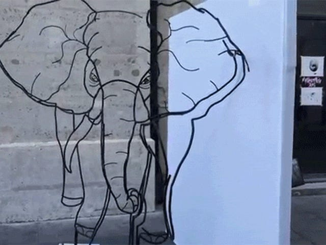 Neat Art Piece Hides Two Different Wire Sculptures Depending on Your Perspective