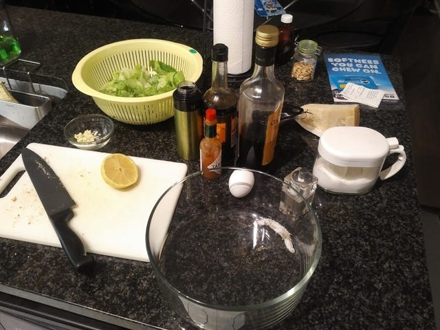 Tried my hand at a tableside Caesar Salad.