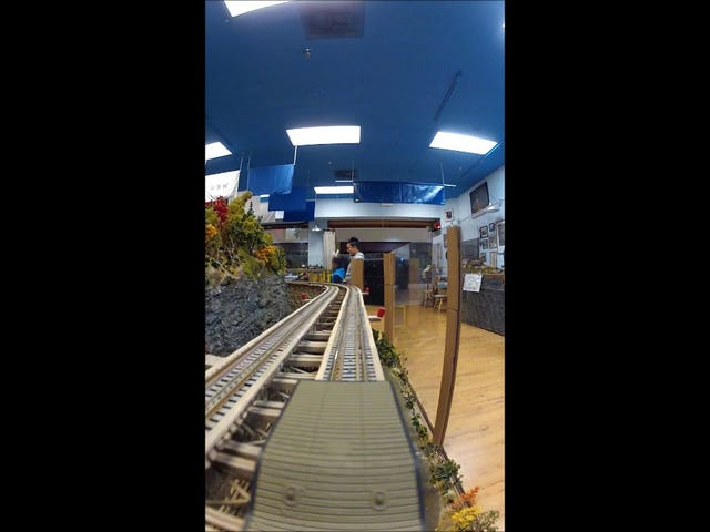 First-person view from a model train