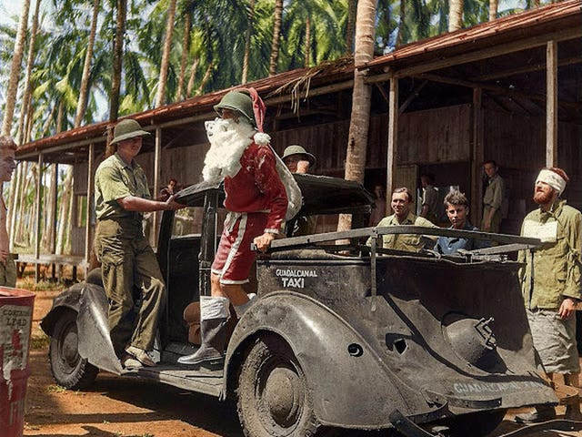 Santa arrives to entertain Allied troops on Christmas on Guadalcanal