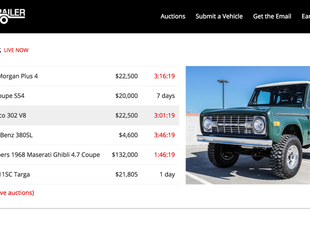 Bring A Trailer Live Auctions On Home Page