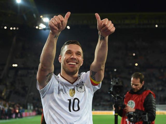 L'ultimo obiettivo di Lukas Podolski per la Germania è stato un bottaio poetico