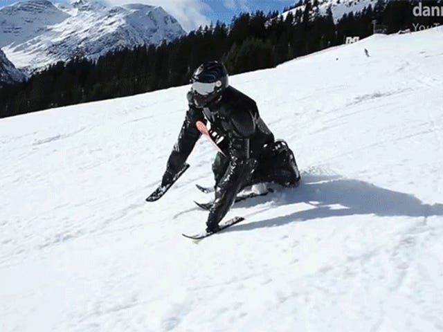Goofball Covered in Skis Cruises Down a Mountain on Every Limb