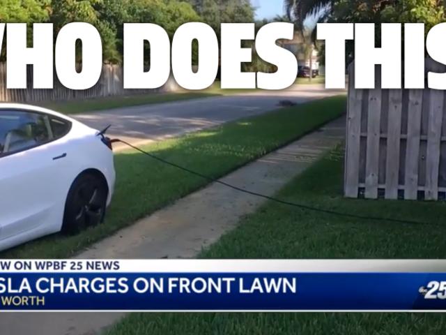 De eigenaar van een Tesla parkeert op het grasveld van een persoon om elektriciteit te stelen gedurende 12 uur