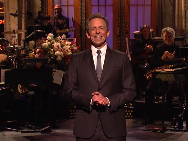 Even Seth Meyers can't focus the satire when he returns to Saturday Night Live