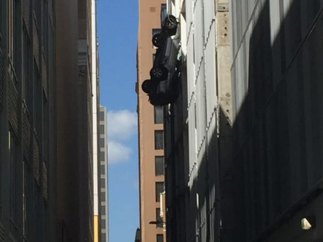 What It's Like To Be In A Car Dangling Off The Ninth Floor Of A Parking Garage