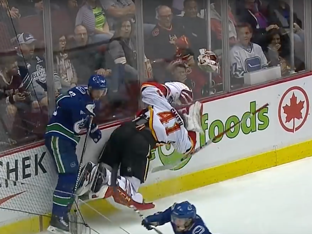 Mike Smith Flopped So Hard His Mask Flew Off