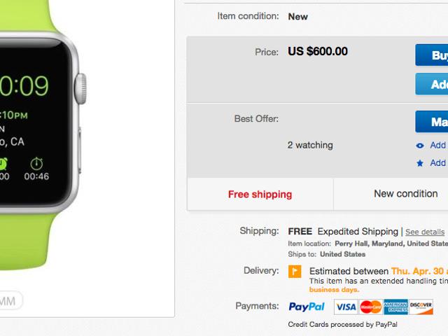 Du kan købe et Apple Watch på eBay - men det vil ikke være billigt