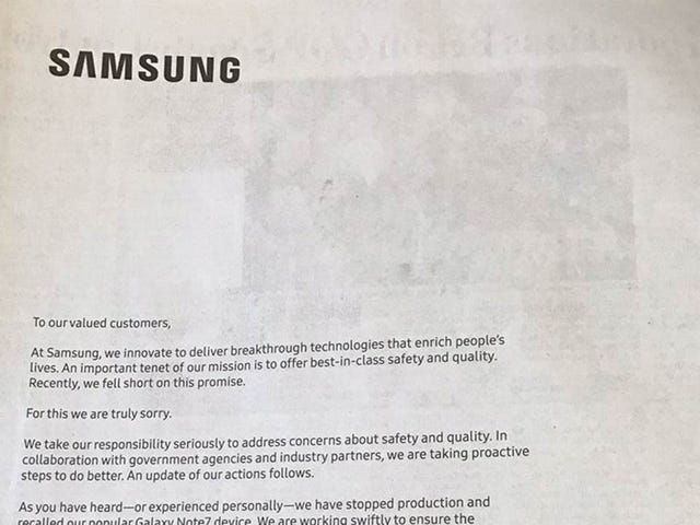 Sad Samsung Apologizes for Exploding Phones in Full Page Newspaper Ads