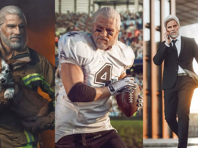 Witcher Cosplayer trasforma Geralt in un pompiere, un giocatore di football e una rock star