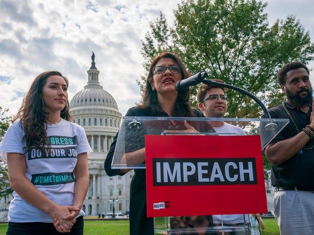 Rep. Rashida Tlaib står ved salg af 'Impeach the MF' T-shirts
