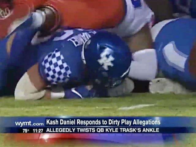 Kash Daniel, do Kentucky Linebacker, nega torcer o tornozelo do Florida QB e diz que sua mão estava presa