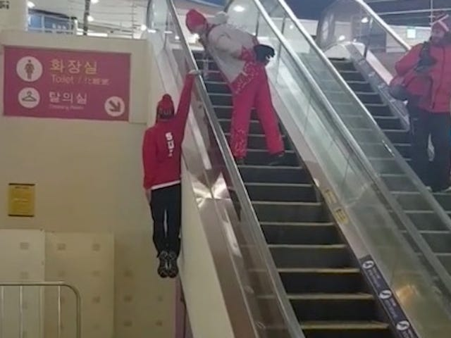 Swiss Olympic Skier Appears To Be An Escalator Wizard Or Some Shit