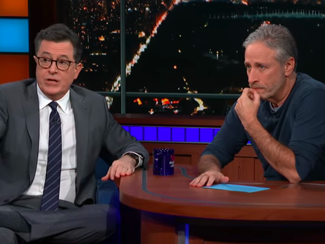 Jon Stewart takes over The Late Show, renews his feud with Fuckface Von Clownstick
