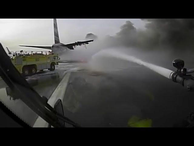 Fire Truck Dashcam Footage of American Flight 383 Engine Fire