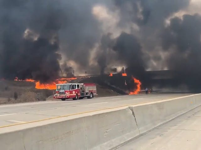 This Overturned Fuel Tanker Burned A Bridge In Indianapolis