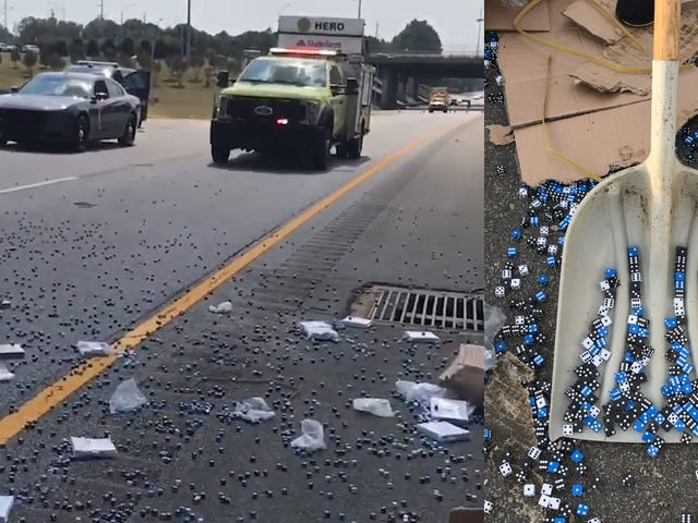 Truck Carrying Gaming Dice Spills Onto Highway, Rolls A Perfect 756,000
