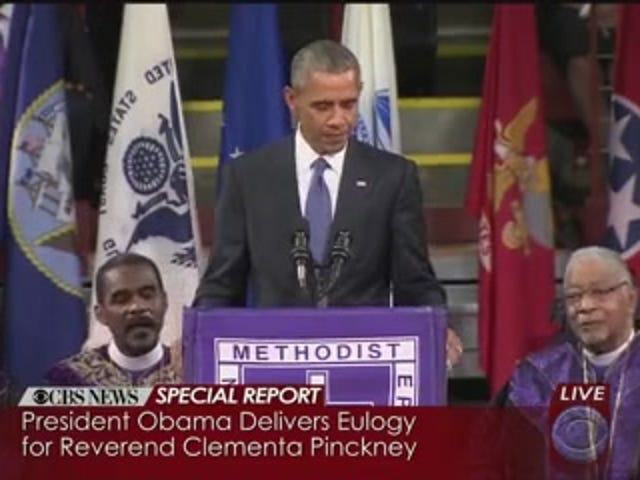 Se Obama Lead Charleston Emanuel AME i Singing 'Amazing Grace'