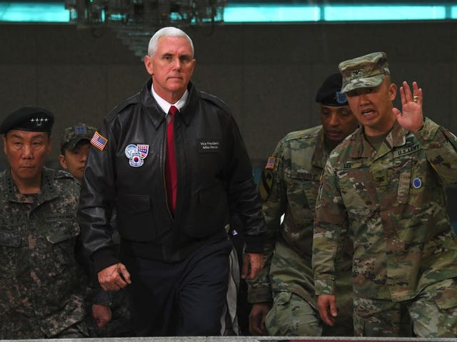 Mike Pence Issues Stern Warning to North Korea in a Dumb Leather Jacket