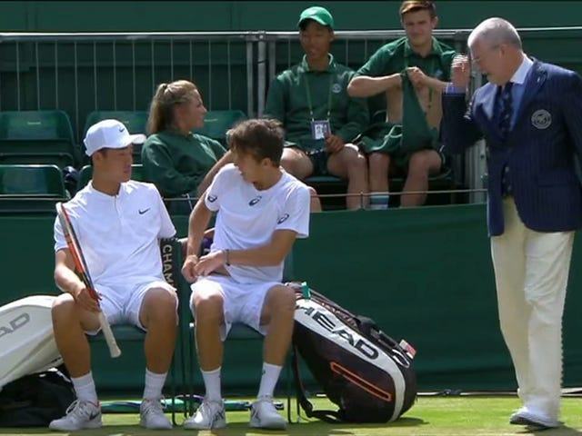 Boys' Doubles Team Forced To Change Out Of Black Underpants At Wimbledon