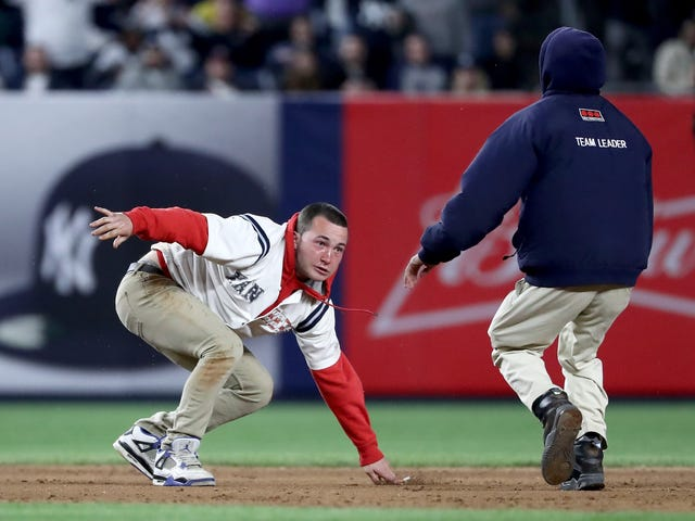 Idiot On The Field In Yankee Stadium Gets Taken Out Near Second Base