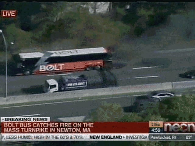 Bolt Bus explose à la télévision en direct