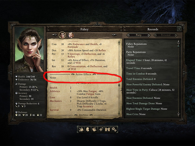 हार्दिक सूची बग द्वारा अपंग चरित्र <i>Pillars Of Eternity</i>