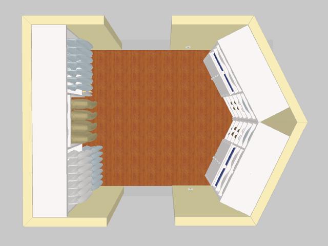 Αυτός ο πελάτης ήθελε δύο στήλες τριγωνικών συρταριών, αλλά μέσα σε μια γωνιά.