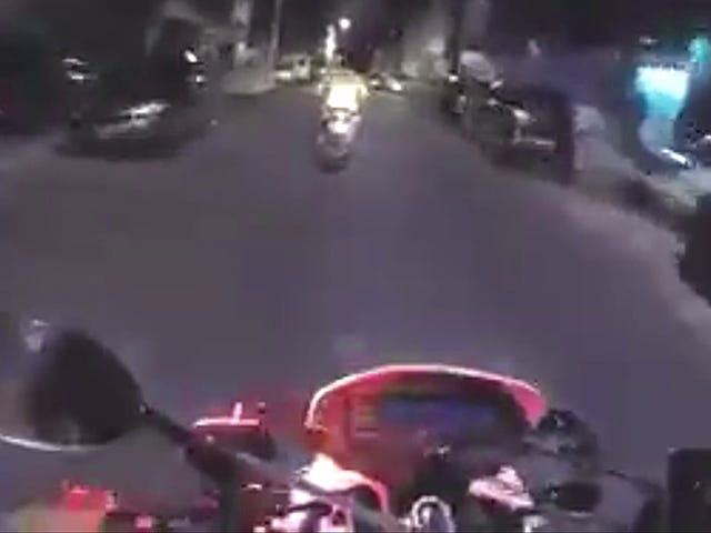 How often do you see a police chase, but with motorbicycles?