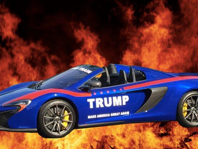 On dirait que quelqu'un a brûlé cette McLaren 'Trumpmobile' de 300 000 $