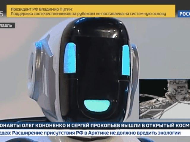 """La televisión rusa præsentere en """"robot afanzado"""", men det er ikke et hombre disfrazado"""