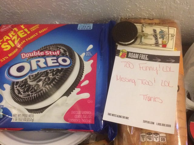 I suspect the cleaning lady at the hotel cracked open my Oreos UPDATE: You're Welcome..?